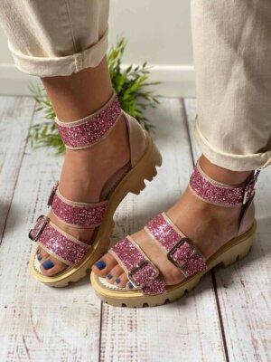 sandale din piele naturala genie glitter rose (5)