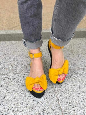 sandale din piele naturala marisa yellow
