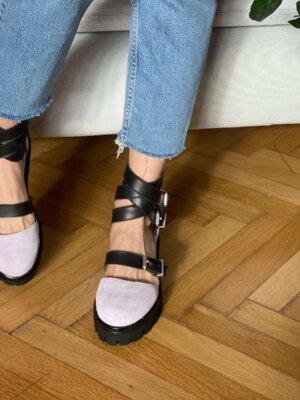pantofi din piele naturala rock glamour lavander fog