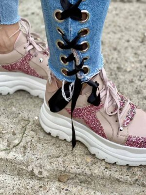 sneakers din piele naturala pinky boom